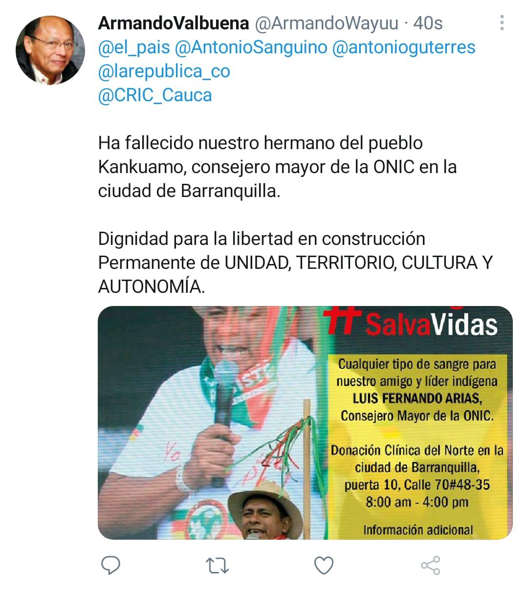 Tomada desde el perfil del líder indígena Armando Valbuena