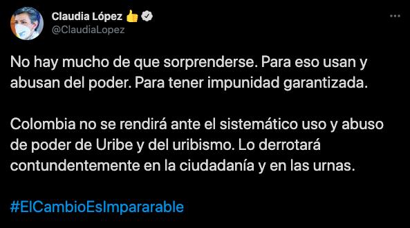 Claudia López y su mensaje en contra de Uribe y el uribismo