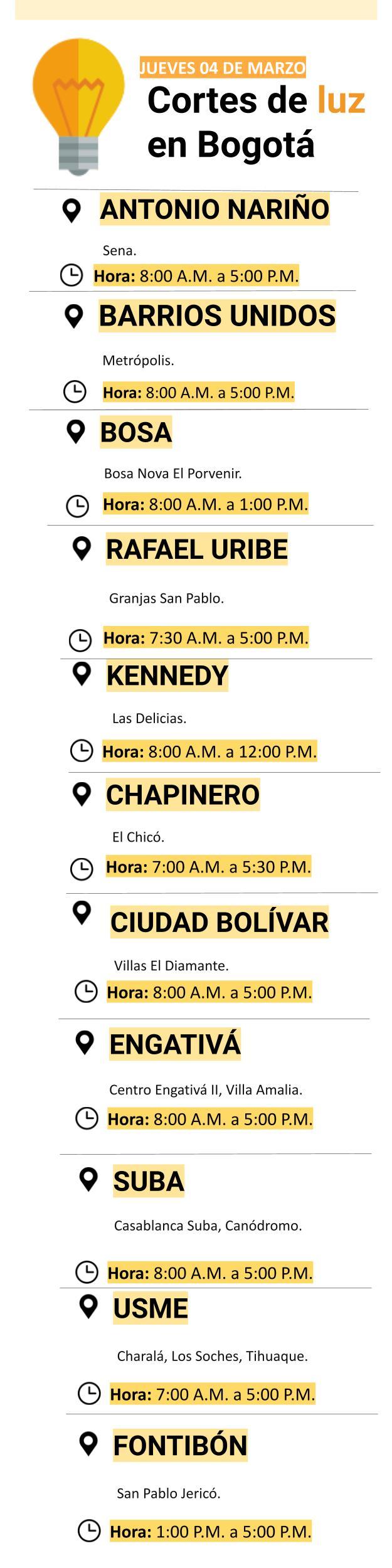 Cortes de luz en Bogotá para el jueves 04 de marzo
