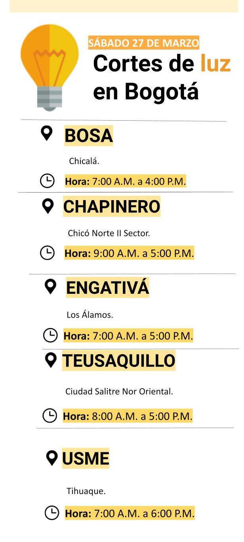 Cortes de luz en Bogotá para el sábado
