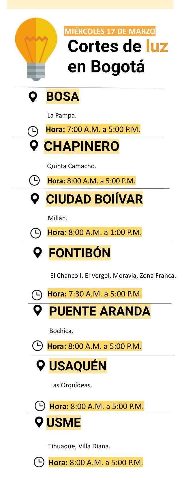 Cortes de luz para el miércoles 17 de marzo en Bogotá