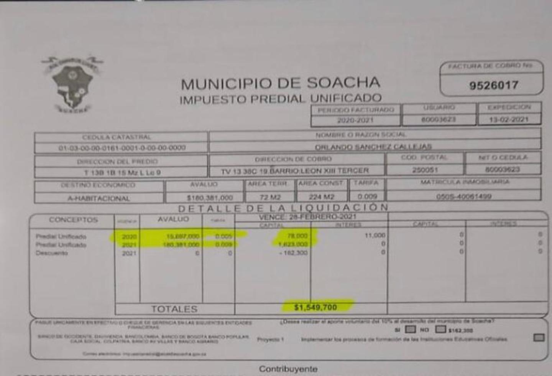 Denuncian cobro excesivo de impuesto predial en Soacha