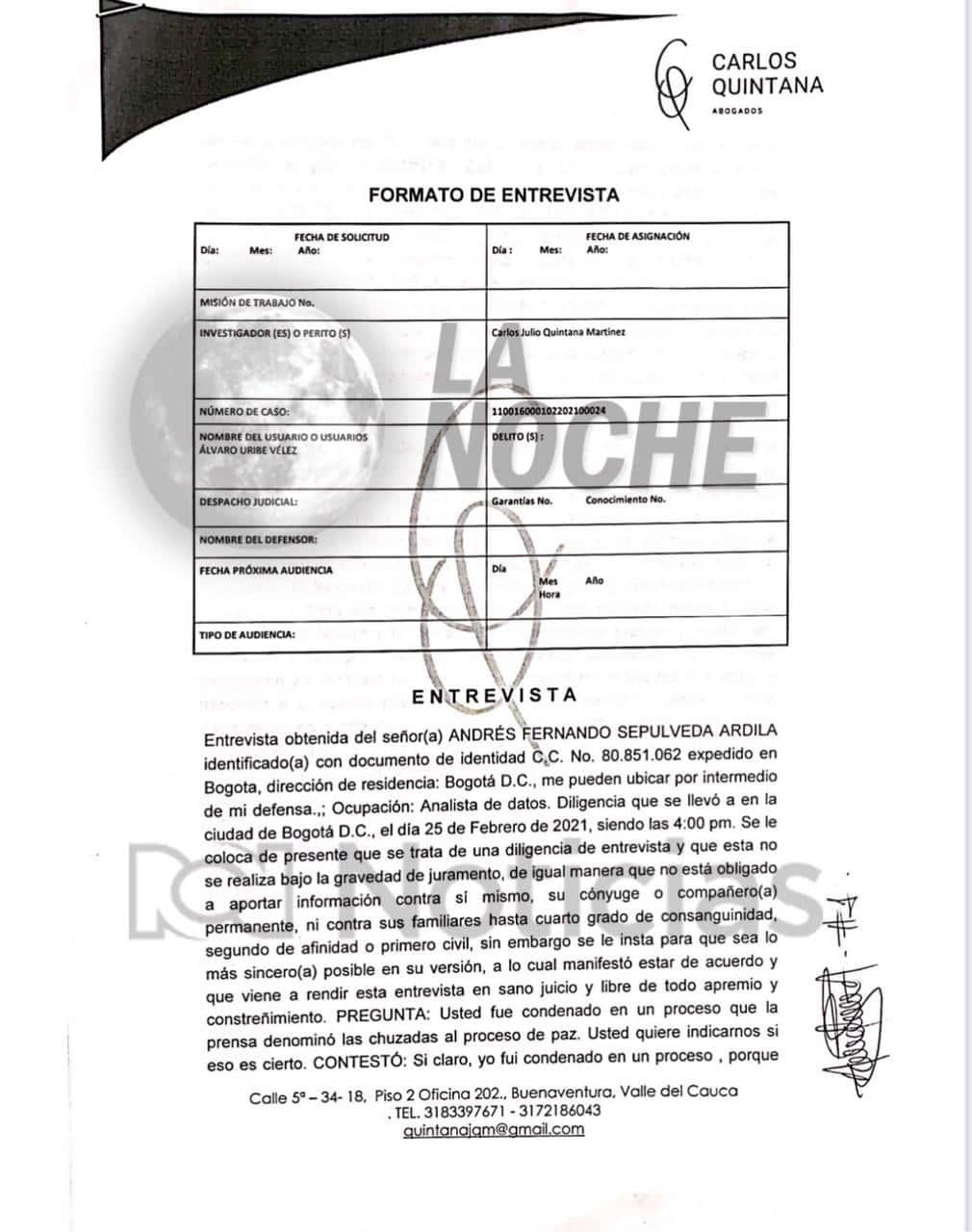 Declaración de Andrés Fernando Sepúlveda