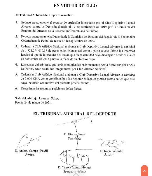 Fallo del TAS en el caso de Marlos Moreno