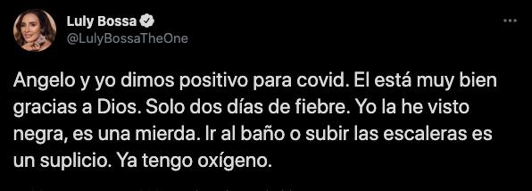 Lylu Bossa contagiada de covid-19