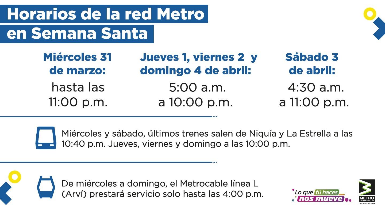 Metro de Medellín, horarios de Semana Santa