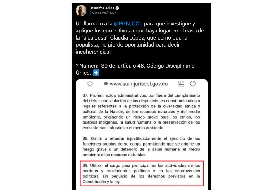 Trino de Jennifer Arias contra Claudia López