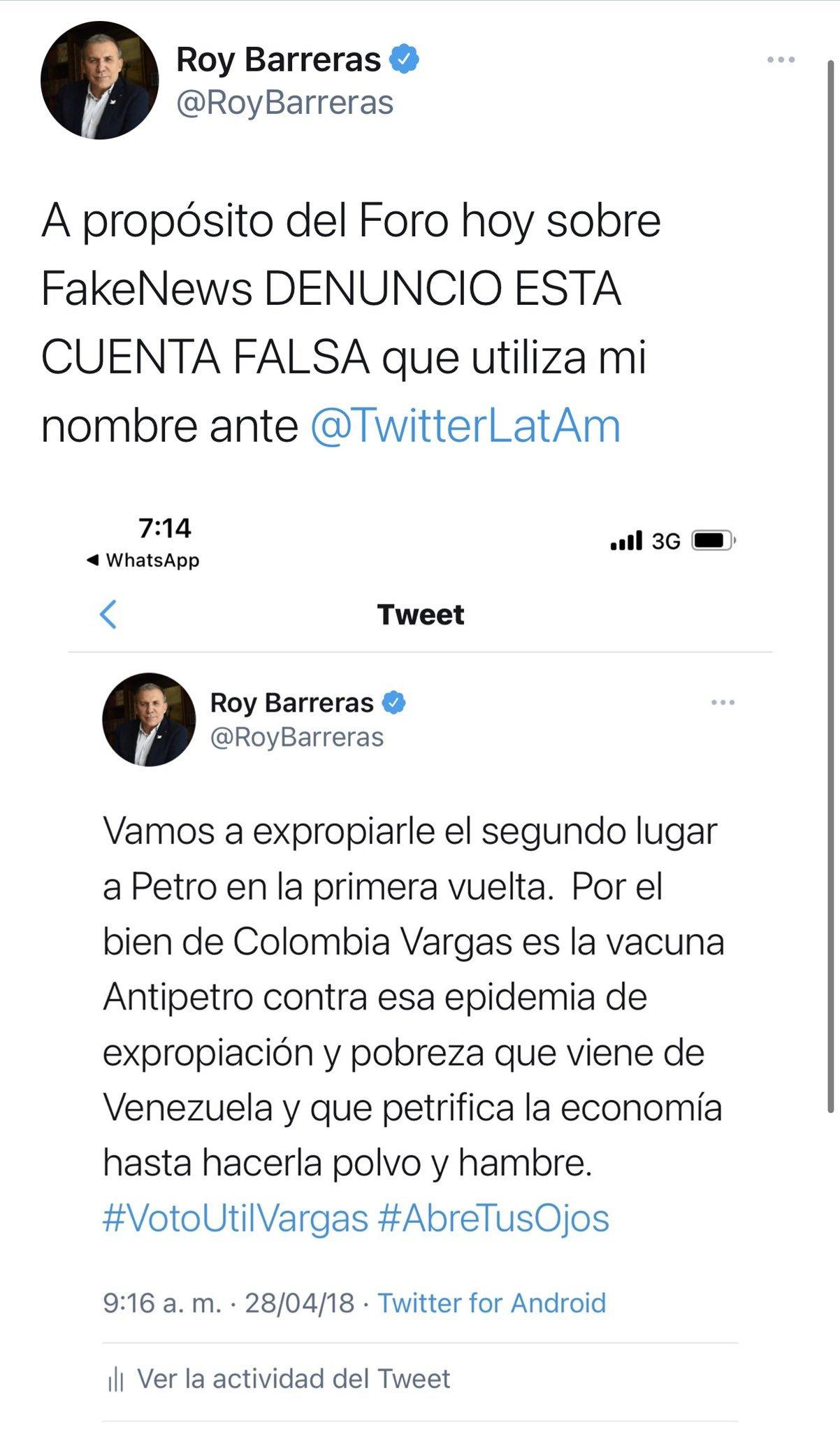 Tuit de Roy Barreras