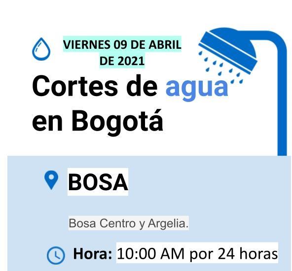 Cortes de agua en Bogotá para el 09 de abril