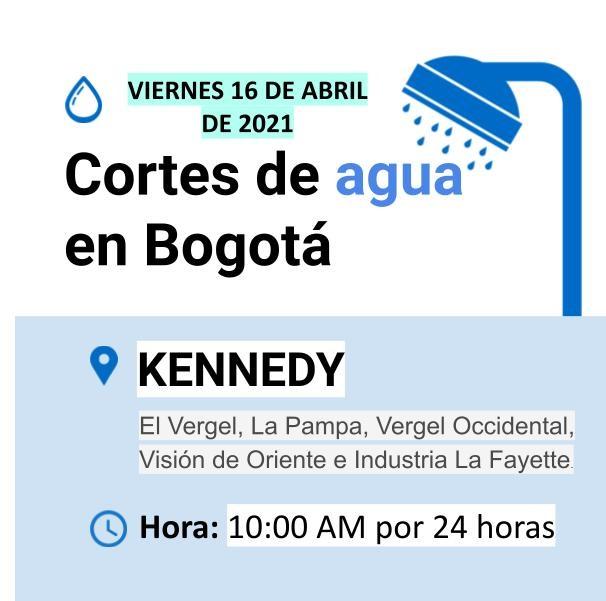 Cortes de agua para el viernes 16 de abril en Bogotá