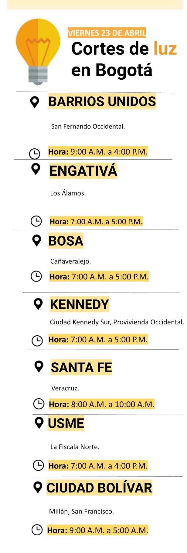 Cortes de luz en Bogotá para el viernes 23