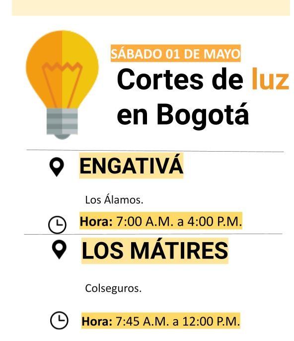 Cortes de luz para el 01 de marzo en Bogotá
