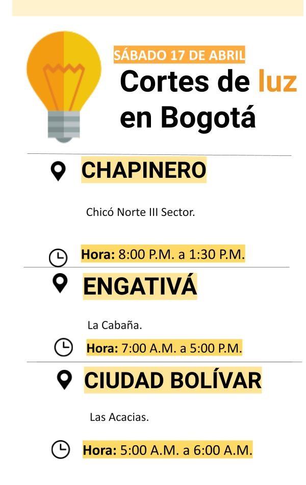 Cortes de luz para el sábado 17 de abril en Bogotá