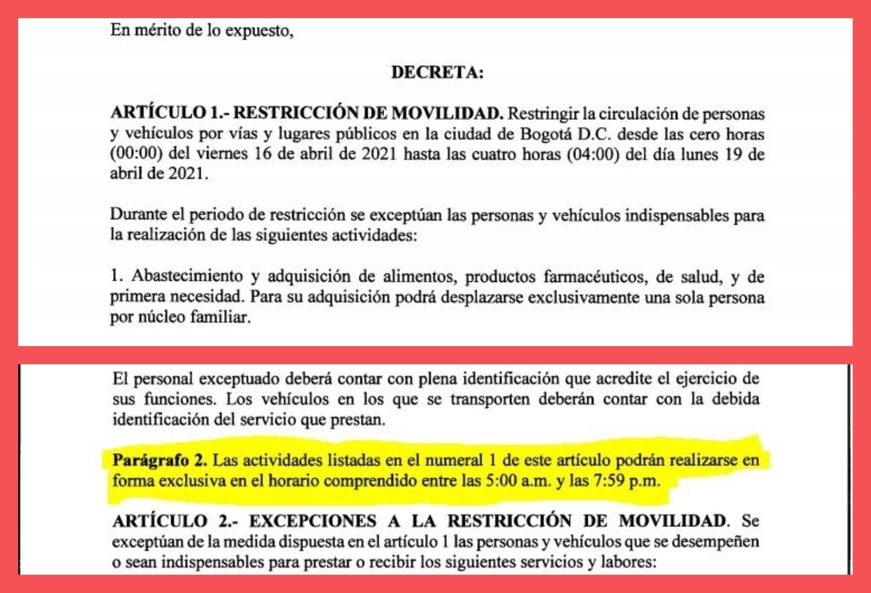 Decreto de cuarentena en Bogotá, 16 a 19 de abril de 2021