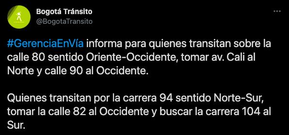 Evite el trancón en Calle80 - cuarentena en Bogotá