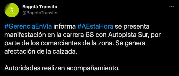 Evite el trancón en Carrera 68 -cuarentena en Bogotá