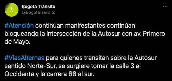 Evite el trancón Primera de Mayor 1 - cuarentena en Bogotá