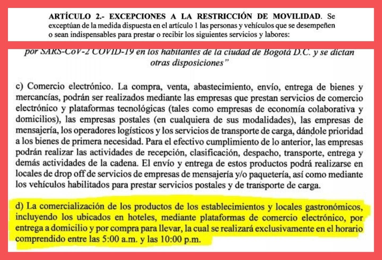 Excepciones a decreto de cuarentena en Bogotá