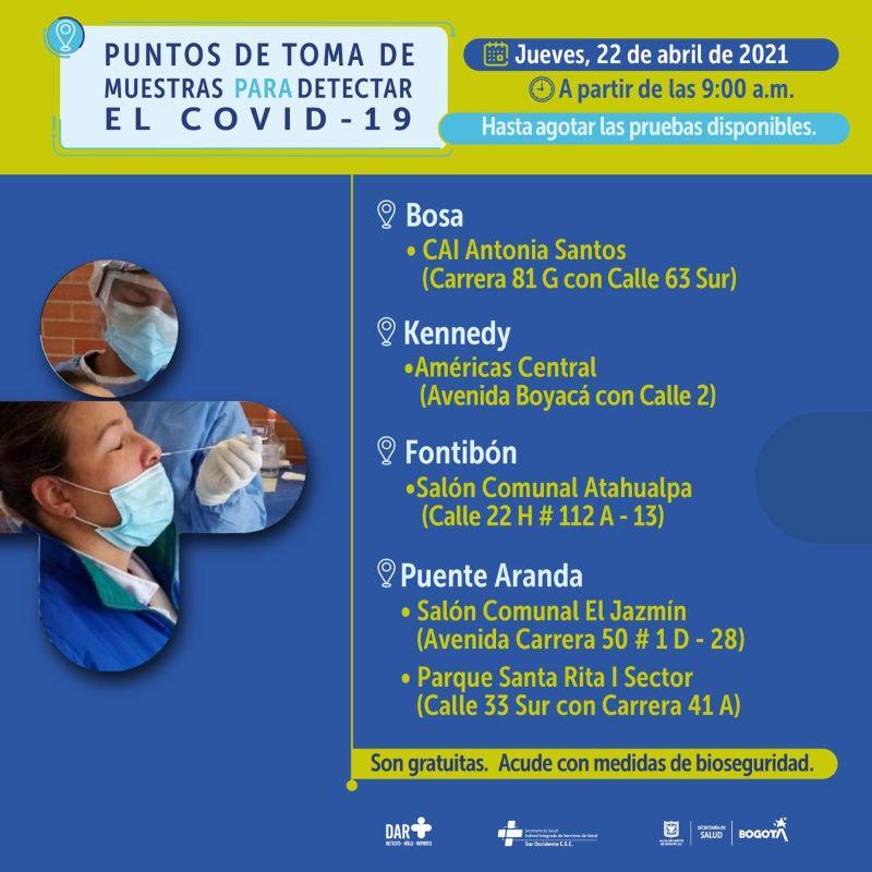 Toma de prueba covid Bogotá