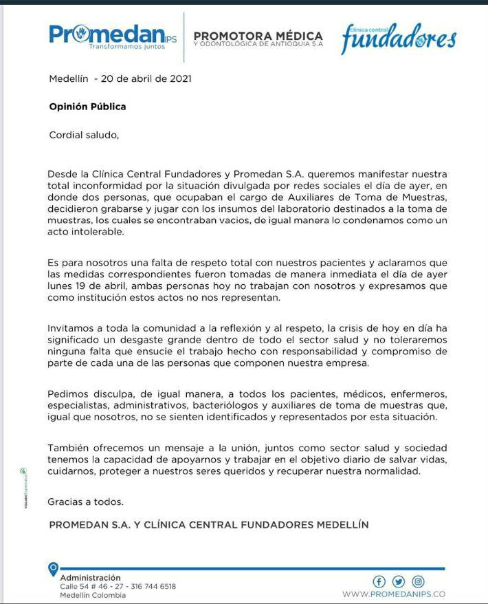 Comunicado de la Clínica Fundadores y Promedan IPS.
