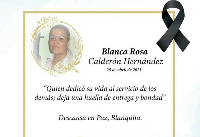 Auxiliar de enfermería, Blanca Rosa Calderón Hernández.