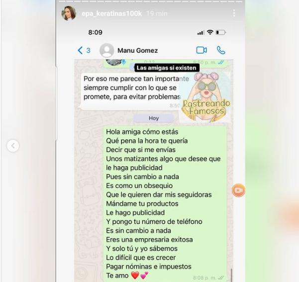Captura de pantalla chat Epa Colombia y Manuela Gómez