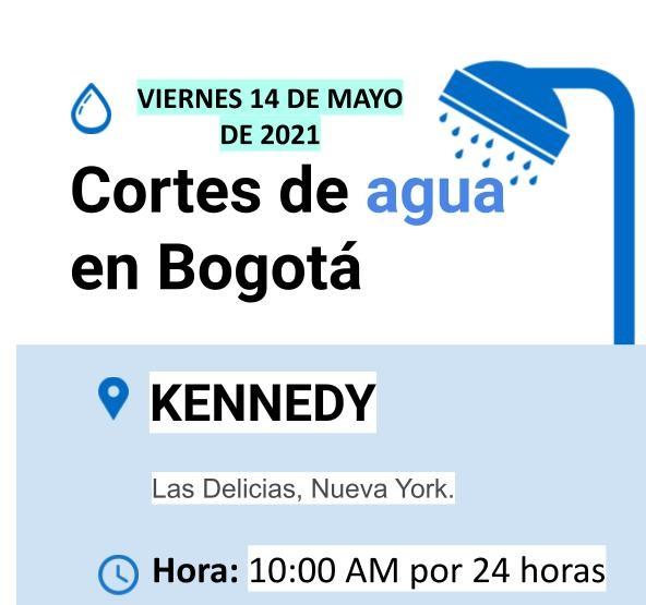 Cortes de agua para el viernes 14 de mayo