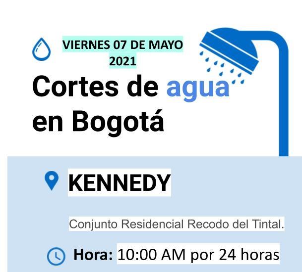 Cortes de agua para el viernes 07 de mayo