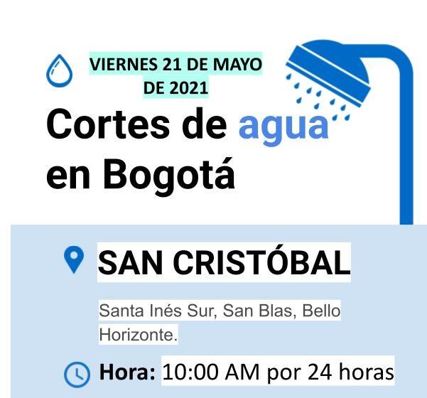 Cortes de agua para el viernes 21 de mayo