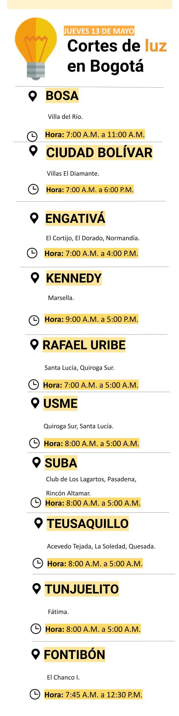Cortes de luz en Bogotá para el jueves 13 de mayo