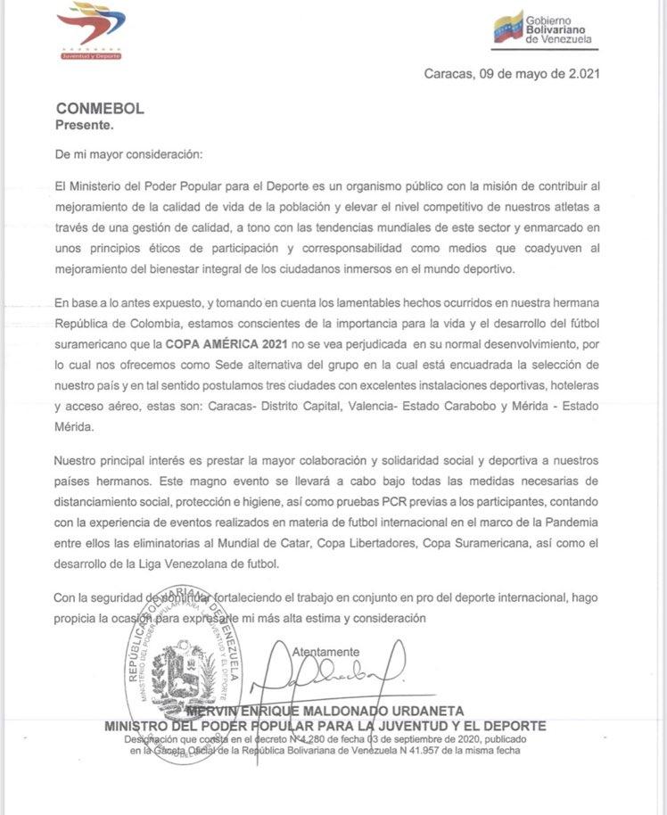 VENEZUELA PIDE SER SEDE DE LA COPA AMÉRICA