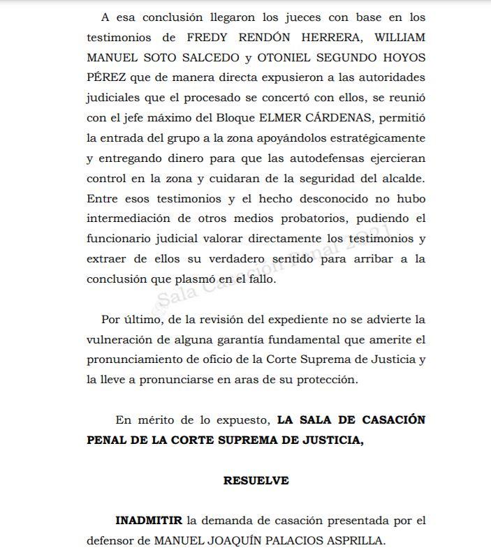 CONDENA CONTRA EXALCALDE DE BOJAYÁ