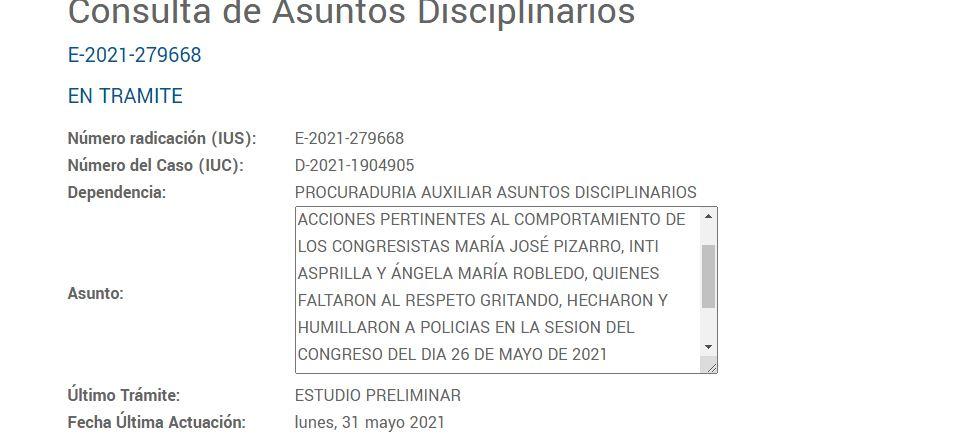 investigación preliminar contra los congresistas María José Pizarro, Inti Asprilla y Angela María Robledo.