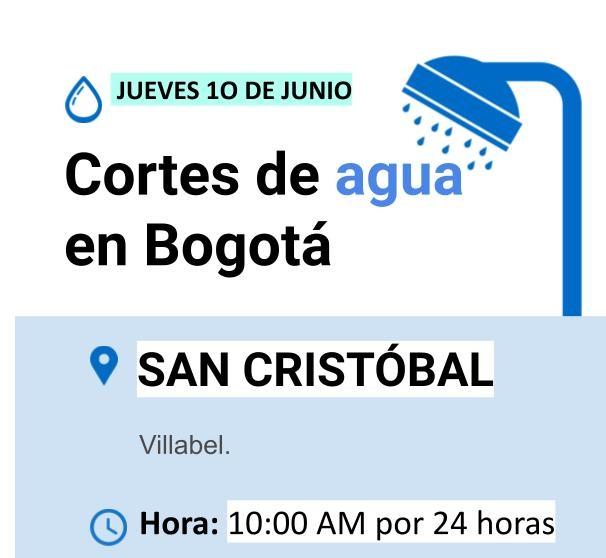 Cortes de agua para el jueves 10 de junio en Bogotá