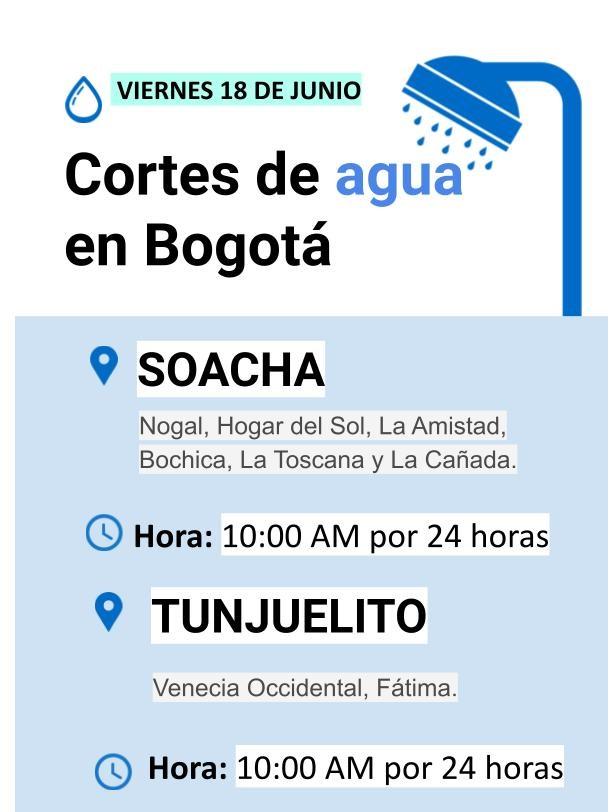 Cortes para el viernes 18 de junio en Bogotá