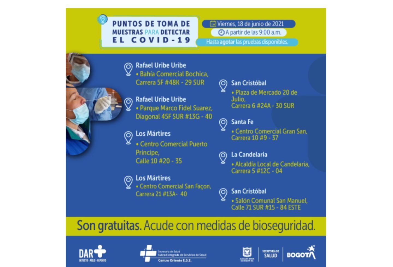 Pruebas covid en Bogotá gratis 18 de junio 2