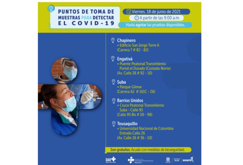 Pruebas covid en Bogotá gratis 18 de junio