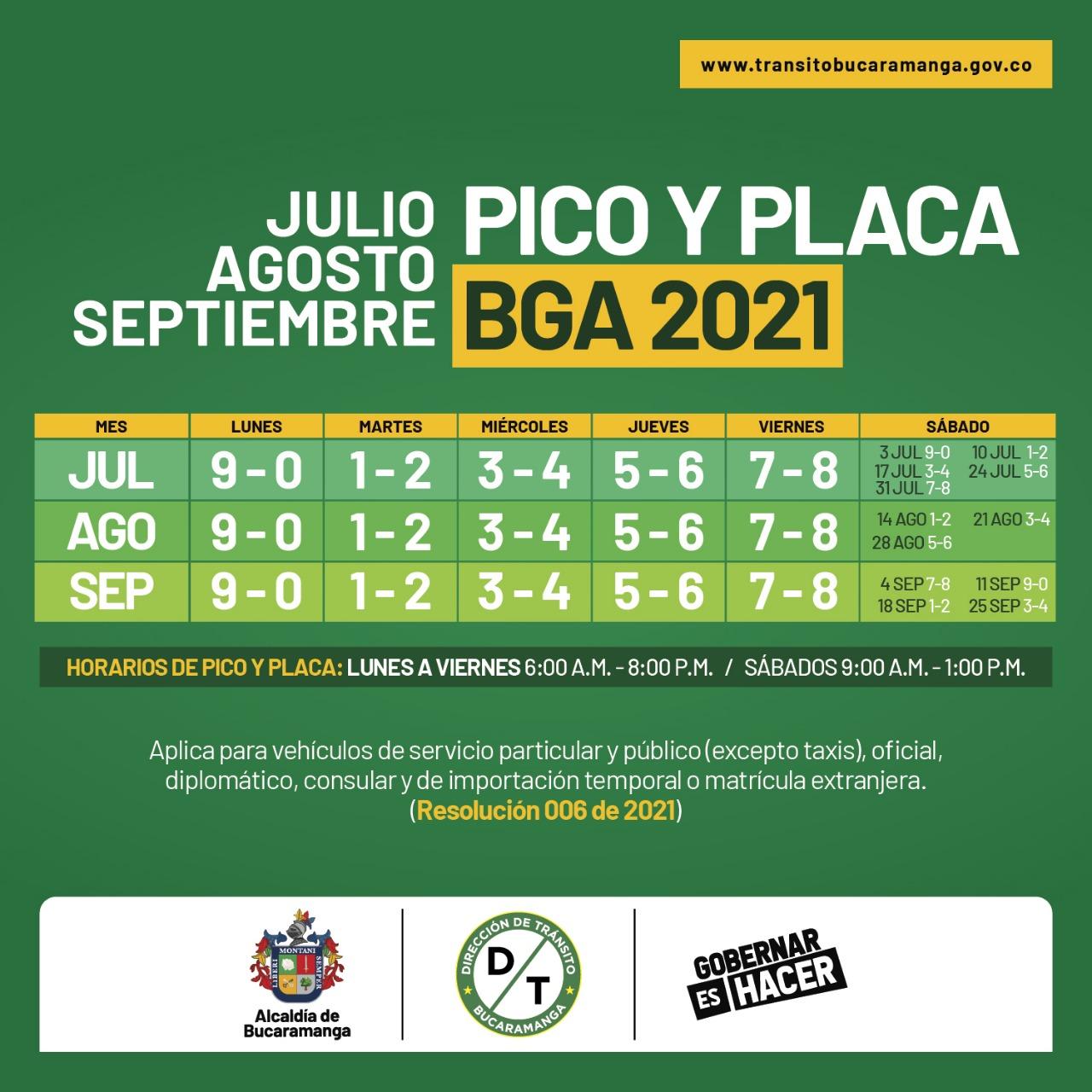 Así rotará en pico y placa en Bucaramanga a partir del 1 de julio