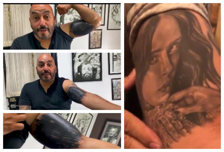 Tatuaje de Lupillo Rivera con rostro de Belinda