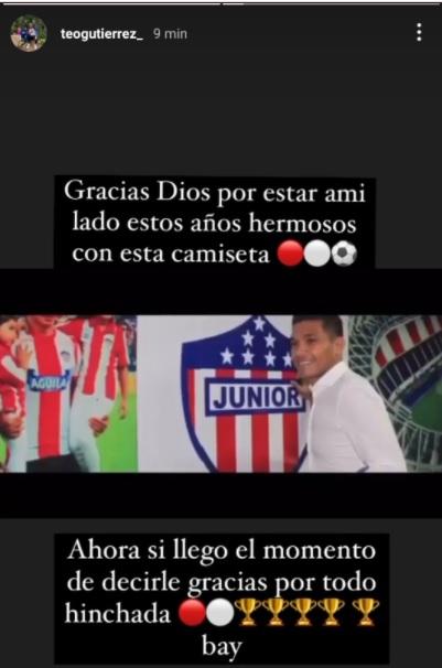Teófilo Gutiérrez en Instagram
