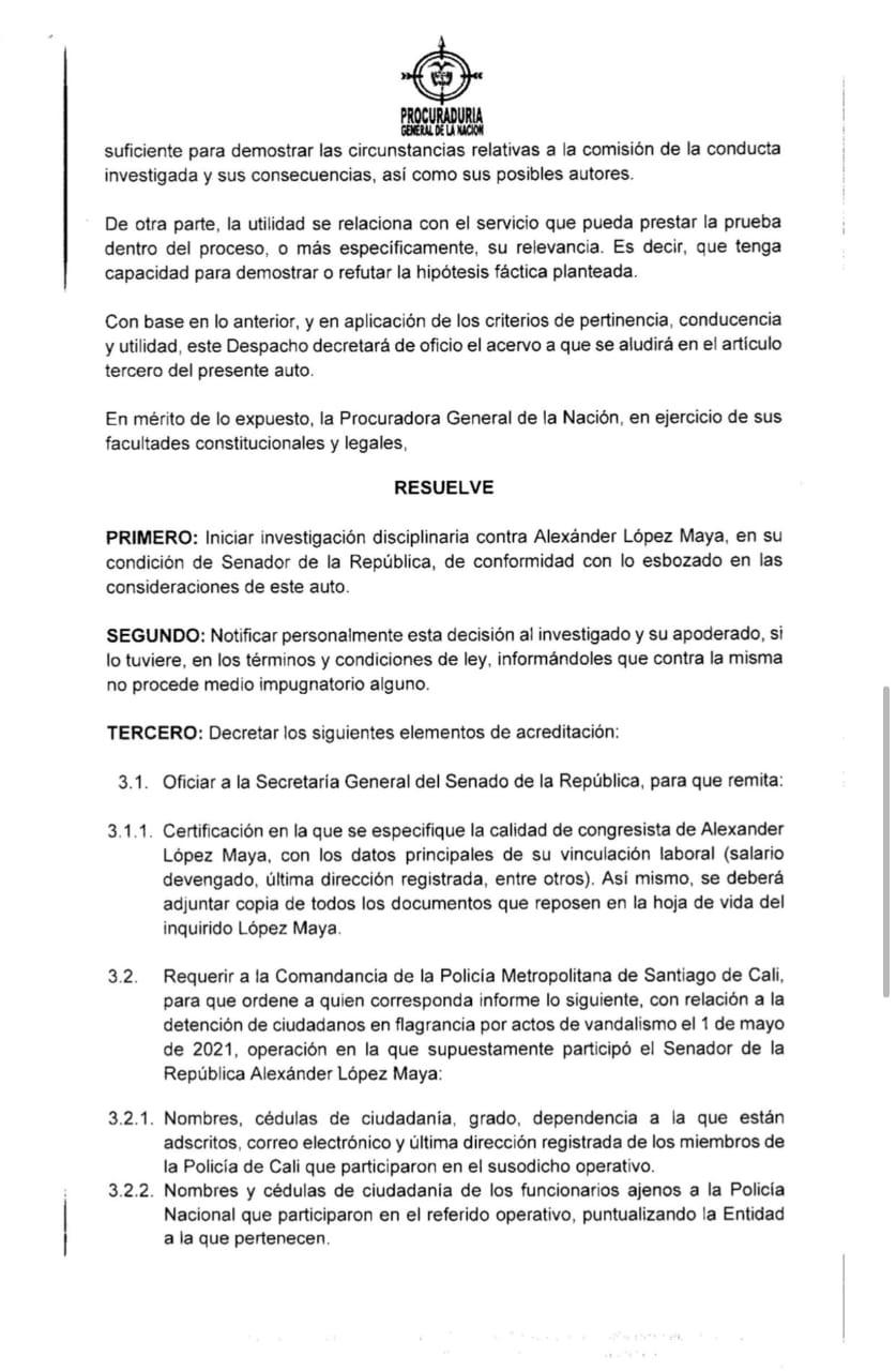 investigación contra el senador Alexander López Maya