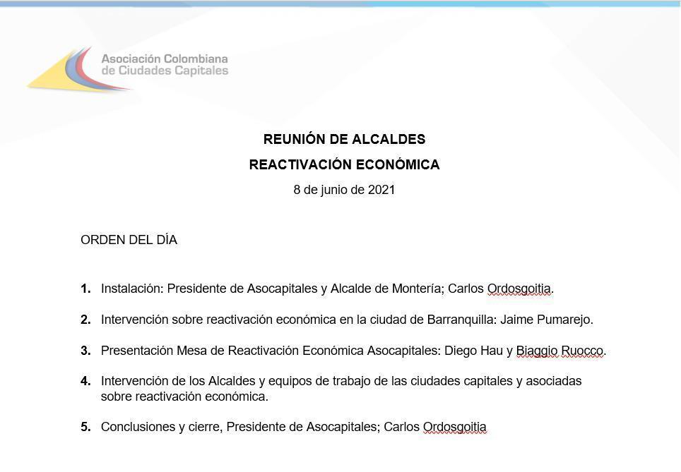 Agenda del día de Asocapitales el 8 de junio en Barranquilla.