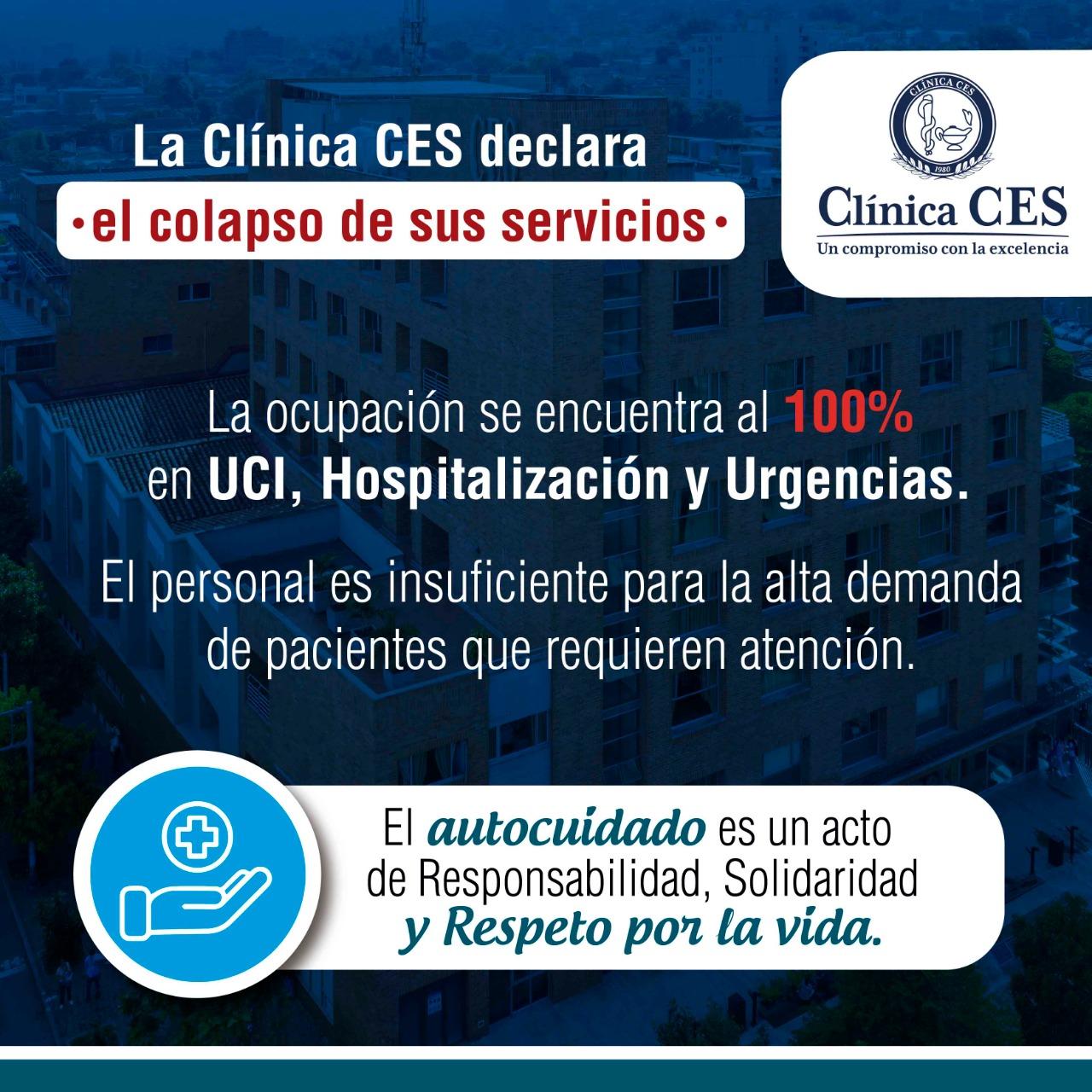 Emergencia hospitalaria en la Clínica CES.