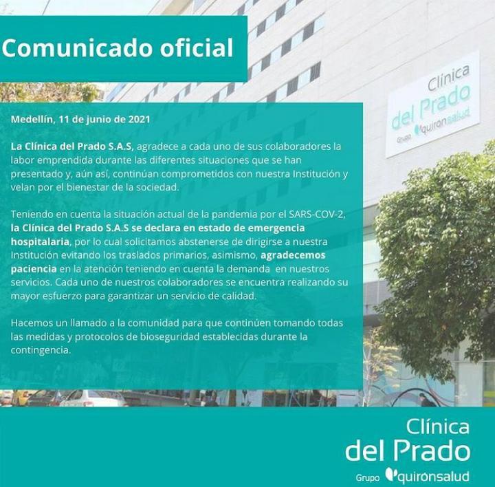 Declaratoria de Emergencia de la Clínica Prado.