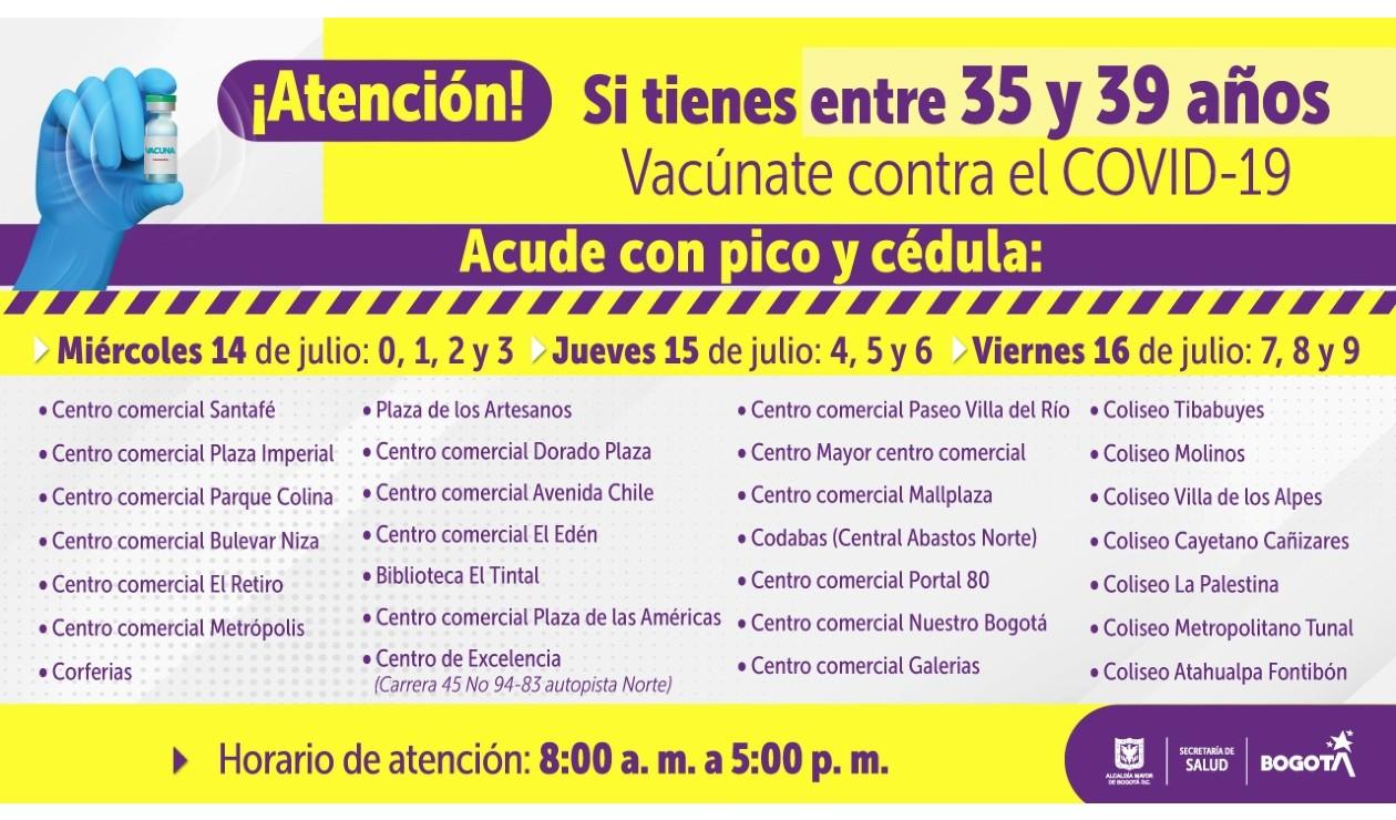 Puestos de vacunación covid en Bogotá para personas de 35 y 39 años