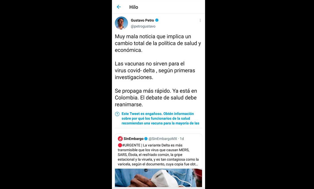 Trino Gustavo Petro anotación twitter