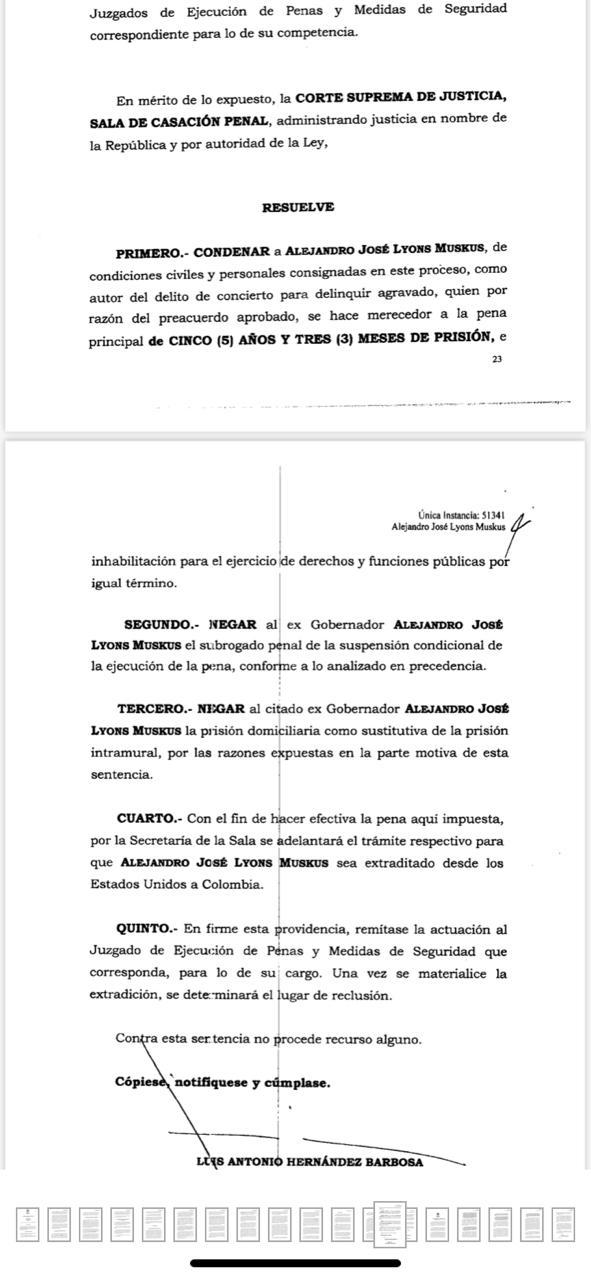 Esta es la sentencia condenatoria que un juez de la República, impuso contra el exgoberador de Córdoba