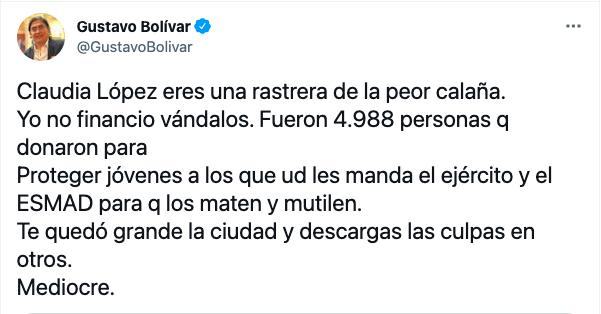 Claudia López, eres rastrera de la peor calaña: Gustavo Bolívar