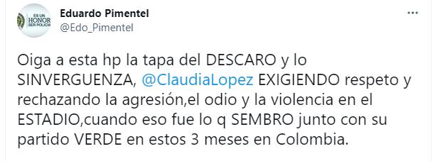 Pimentel cogió a madrazos a Claudia López