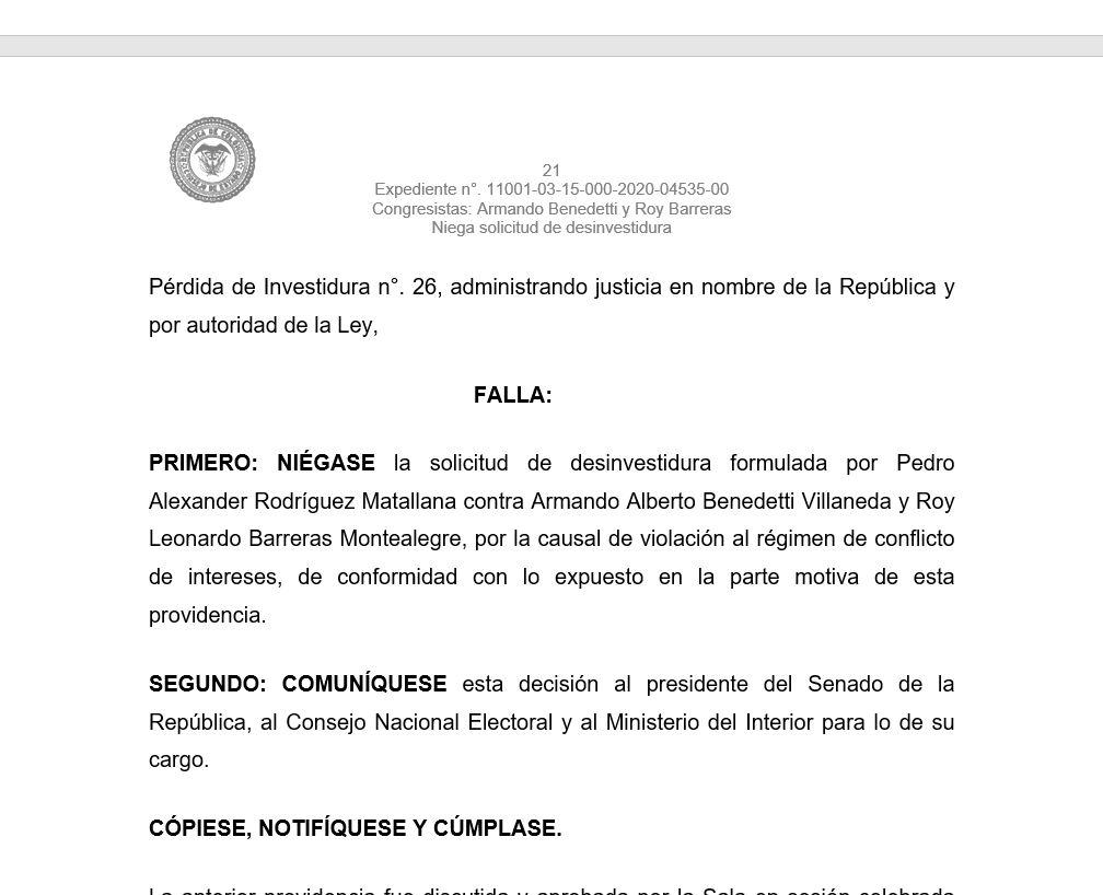 NIEGAN PÉRDIDA DE INVESTIDURA DE BENEDETTI Y BARRERAS